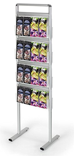 Double Sided Brochure or Magazine Stand, 8 Shelves, Dividers Included (Silver Aluminum) by Displays2go