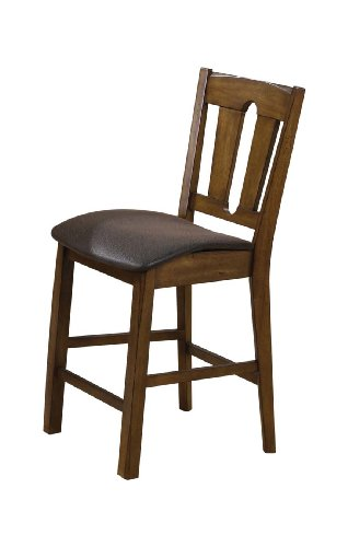 ACME 00846 Set of 2 Morrison Counter Height Chair, Oak Finish