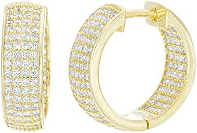 CLEARANCE 18K Gold Over Sterling Silver Cubic Zirconia Diamond Cutout and Pave Huggie Hoop Earrings