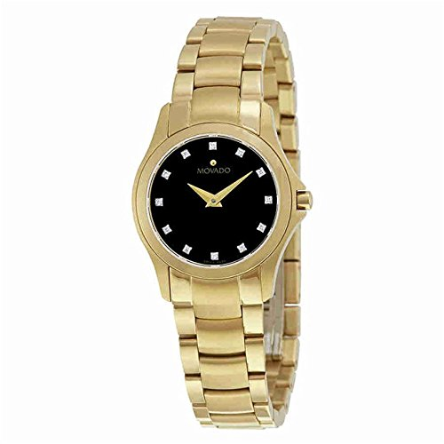 (Movado Masion Black Dial Yellow Gold-Tone Ladies Watch 0607028)