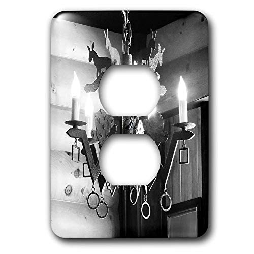 (3dRose Jos Fauxtographee- Black and White Chandelier - A unsaturated Chandelier lit for romance with donkeys - Light Switch Covers - 2 plug outlet cover (lsp_299081_6))
