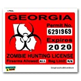 Georgia GA Zombie Hunting License Permit Red - Biohazard Response Team - Window Bumper Locker Sticker