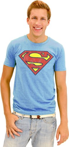 Junk Food Superman Basic Logo Men's Graphic Blue T-Shirt L