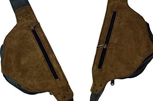Guru-Shop Sidebag, Leder Gürteltasche, Goa Tasche, Herren/Damen, Grau, Size:One Size, Festival- Bauchtasche Hippie