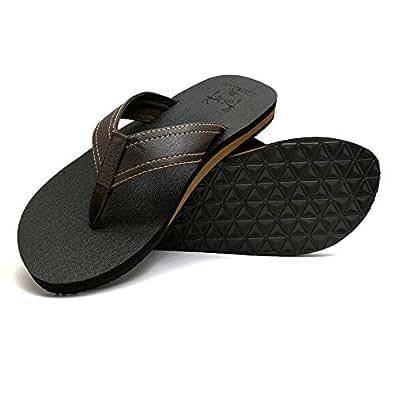 Amazon.com | KuaiLu Men's Yoga Mat Leather Flip Flops