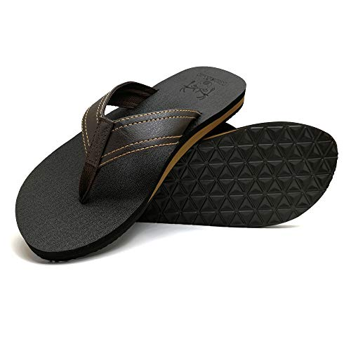 905f24d02 KuaiLu Men s Yoga Mat Leather Flip Flops Thong Sandals with Arch Support