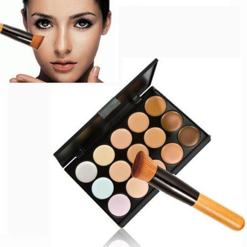New 15 Colors Contour Face Cream Makeup Concealer Palette + Powder Brush Set (Natural Sand Lighted Pot Rack)