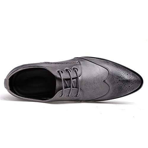 brogue Pelle da punta Simple Color a Grigio Scarpe casual Dimensione shoes Grigio scarpe Xiaojuan EU Business 43 Uomo classiche Comode uomo Trend Oxford axqvCgtFw