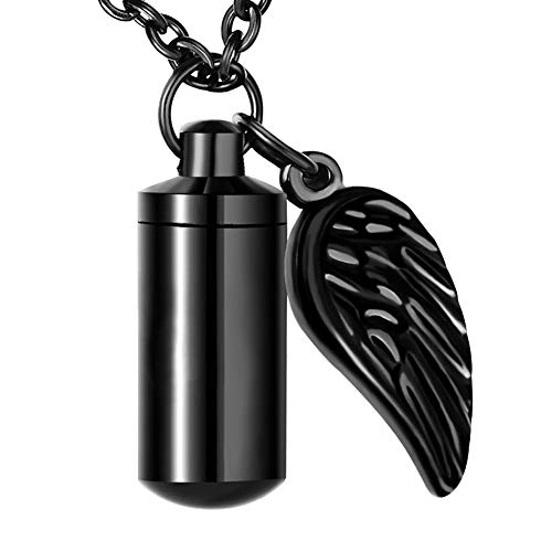XIUDA Cremation Jewelry Urn Necklace for Ashes with Angel Wing & Black Small Pendant