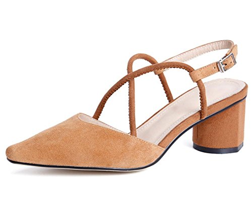 ZPL Toe Sandals Brown Ladies Slingback Ankle Shoes Suede Pointed Work Casual Straps Pumps High Women's Mid Heel HtarqH