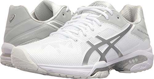 ASICS Women's Gel-Solution Speed 3 Tennis Shoe, White/Silver, 7.5 M US