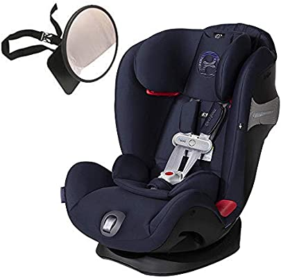 Cybex Eternis S All-in-One Car Seat with SensorSafe, Denim Blue with Back Seat Mirror Bundle