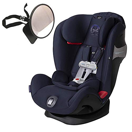 (Cybex Eternis S All-in-One Car Seat with SensorSafe, Denim Blue with Back Seat Mirror Bundle)