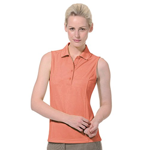 Monterey Club Ladies Dry Swing Solid Lightweight Pique Sleeveless Polo #2064 (Peach Pink, Medium)