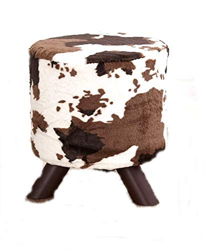 Boomer888 Animal Print Fabric Covered Ottomans Rustic Footstools Chic Cowhide Brown Home Fur Small Seat Western Lodge Living Room Decor Dia. 12 inches x H.13-1/2 inches