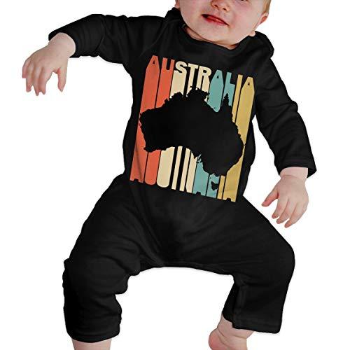 Long Sleeve Cotton Bodysuit for Baby Boys and Girls, Fashion Retro Style Australia Silhouette Sleepwear -