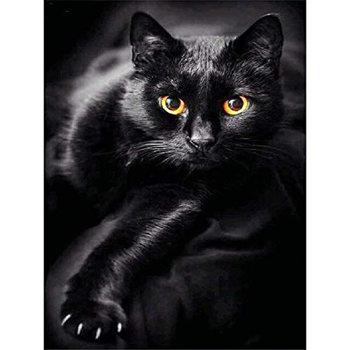 UPMALL DIY 5D Diamond Painting by Number Kits, Full Drill Crystal Rhinestone Embroidery Pictures Arts Craft for Home Wall Decoration Black Cat 11.8×15.7 Inches (Stitch Black Cross Cat)