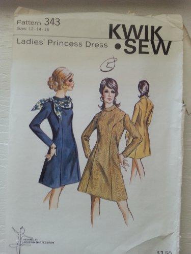 Kwik Sew 343 Ladies Princess Lines Dress Sizes 12-14-16 (Princess Dress Sew)