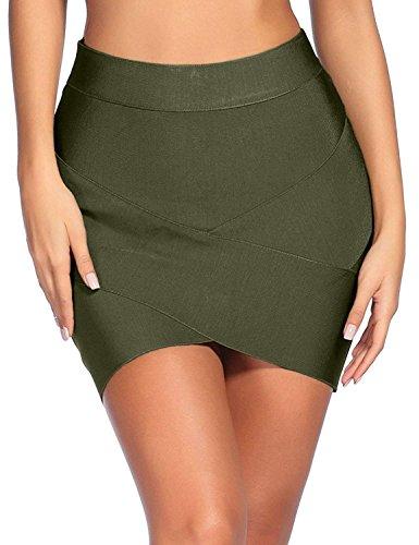 Madam Uniq Women's Sexy Stretch Bandage Bodycon Party Tube Mini Skirt (DarkGreen, XL)