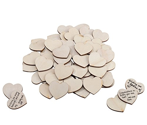 - Lillian Rose Fashionable Wedding Guest Book Alternative Wood Signing Hearts, 1.5