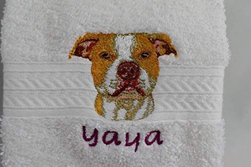(AMERICAN PITBULL Terrier Brindle Dog Breed Luxury Spa Hand Towel or Golf Towel Embroidered Customized Full-Color with FREE Dog's Name Pet Lover Gift FREE SHIPPING)