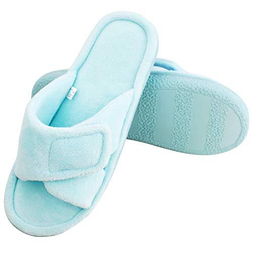 Adjustable Open Toe - Magtoe Women Memory Foam Indoor Coral Velvet Adjustable Open-Toe House Slipper (Small, Pure Blue)