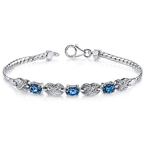 London Blue Topaz Bracelet Sterling Silver 1.75 Carats Oval - 1.75 Carats Swiss