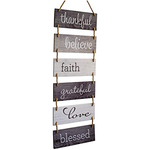 Excello Global Products Large Hanging Wall Sign: Rustic Wooden Decor (Grateful, Love, Believe, Thankful, Faith, Blessed) Hanging Wood Wall Decoration (11.75