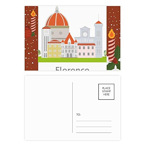 Italy Florence Landscape National Pattern Christmas Candle Postcard Thanks Card Mailing 20pcs ()