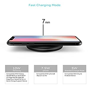 10W Fast Wireless Charger, DeepDream Qi Wireless Charging Pad for iPhone X, iPhone 8/8 Plus, Samsung Note 8 Galaxy S8/S8 Plus and all QI-Enabled Devices with QC3.0 Adapter (10W-Black
