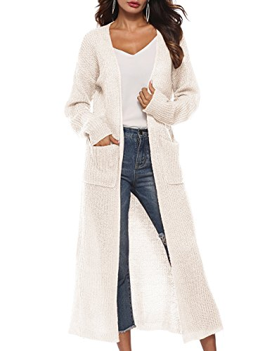 Front Sleeved Long (Women's Casual Long Sleeved Open Front Knited Long Cardigans for Women with Pockets)