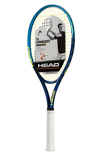 HEAD Ti. Conquest Tennis Racket - Pre-Strung Head Light Balance 27 Inch Racquet - 4 3/8 In Grip