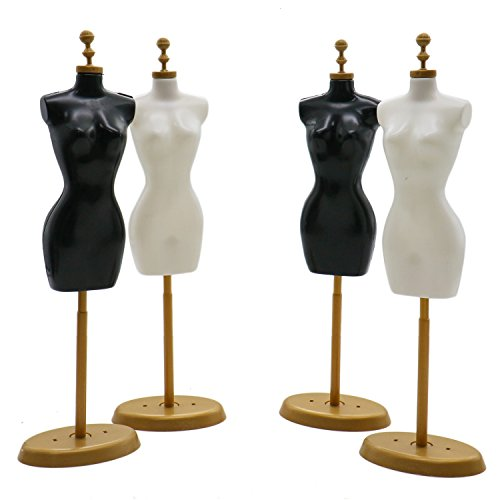 Rugjut 4 PCS Doll Dress Cloth Gown Plastic Demountable Display Support Holder Mannequin Model Stand Accessories for Barbie Doll Dress