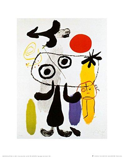 (Figur Gegen Rote Sonne II, c. 1950 Art Print Art Poster Print by Joan Miró, 10x12)