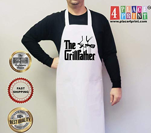Classic Grilling Apron - Fathers Day, Grilling Gifts For Dad, Father Gift, Boyfriend Gift, Husband, Mens Gift Personalized Mens the GRILLFATHER Grilling Grill Aprons