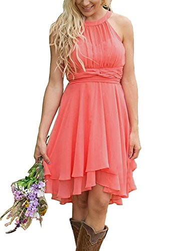 YinWen Women's Halter Chiffon Country Bridesmaid Dresses Summer Short Party Dresses Size 8 US Watermelon