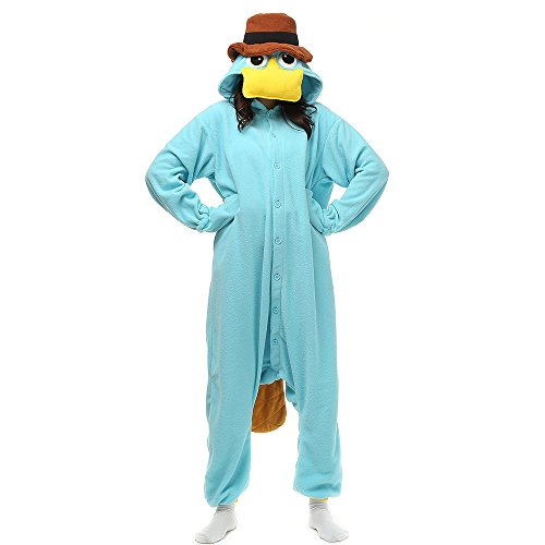 Phineas And Ferb Costumes For Kids (Wishliker Unisex Adult Onesie Pyjamas Platypus Christmas Costumer)