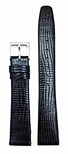 18mm Black Genuine Leather Watch Band | Elegant, Flat, Tail Lizard Grained Replacement Wrist Strap that brings New Life to Any Watch (Mens Standard Length) -