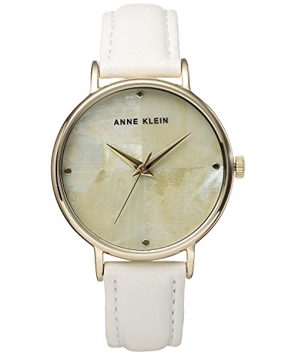 Anne Klein Women's AK/2790CMWT Gold-Tone and White Leather Strap Watch