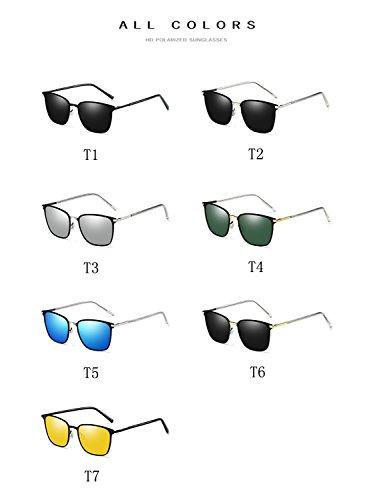 con Square de tamaño UV400 para de Retro gafas ATNKE de T7 polarizadas reflectante mujeres hombres gafas HD lente marco de metal protección Vintage gran sol PBBxvWRqOd