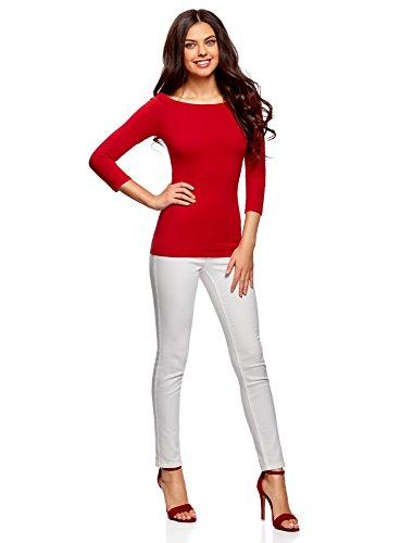 oodji Ultra Mujer Camiseta de Manga Larga con Hombros Abiertos Rojo (4500N)