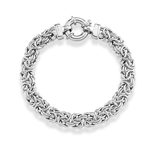 Chunky Link Bracelet (MiaBella 925 Sterling Silver Italian 9mm Byzantine Link Chain Bracelet for Women, 7.25