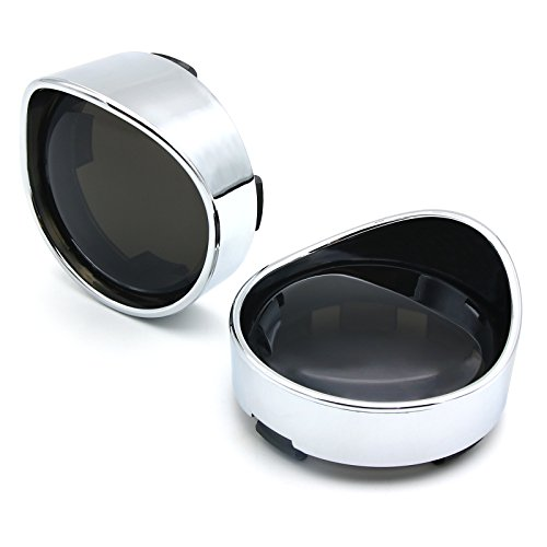 BSK Chrome Plating Visor-Style Turn Signal Bezels with Smoke Lens for Harley Custom Cruiser