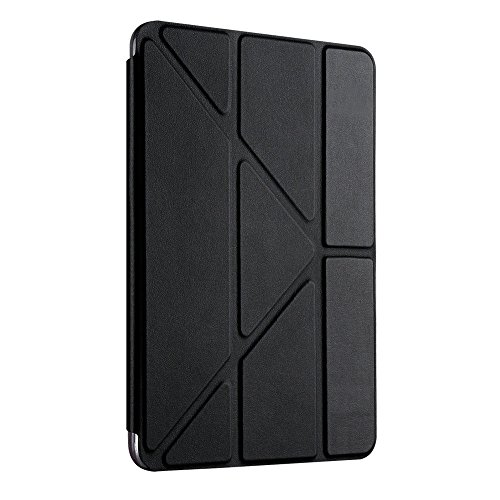 New iPad 2017 iPad 9.7 inch Case,SHM Ultra Slim Lightweight Smart Case Trifold Stand with Auto Sleep/Wake Function, Hard Back Cover for Apple New iPad 9.7-inch - Black Cover Top