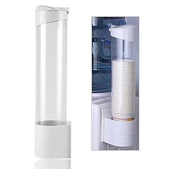 Dispensador de Taza de Agua Dispensador de Plástico Montado en Pared para Tazas de Papel y Vasos de Plástico (Blanco, 50 Tazas)