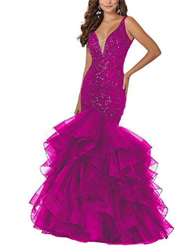 PearlBridal Women's Beaded Sequins Mermaid Lace Long Prom Dresses Ruffles Evening Ball Gowns Fuchsia Size 14 ()