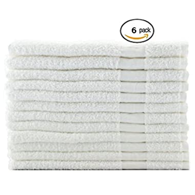 Hotel-Spa-Pool-Gym Cotton Hair & Bath Towel - 6 Pack, White, Super Soft, Easy Care, Ringspun Cotton for Maximum Softness and Absorbency (22 x 44 ) By Utopia Towel