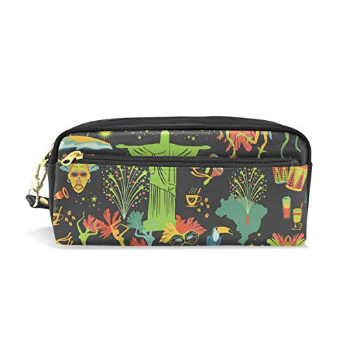 Black Art Leather Student Pencil Case Cosmetic Pen Bag Makeup Pouch for Teen Girl by Hulahula