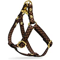 Brown Checkered Designer Dog Harness and Leash Set, Adjustable with Gold Metal Hardware for X-Small, Medium, Large Dogs