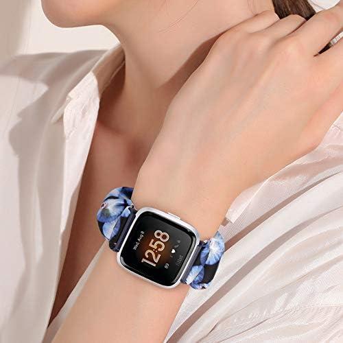 AordKing Scrunchie Watch Band with Versa/Versa 2 / Versa Lite, 23mm Compatible Cute Elastic Wristbands Strap Replacement for Women Girls(L Size, 5 Pack 2) 41wh Ah JFL